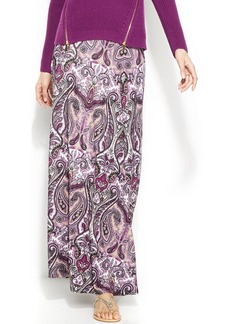 INC International Concepts Printed A-Line Maxi Skirt