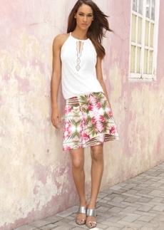 INC International Concepts Printed A-Line Skirt