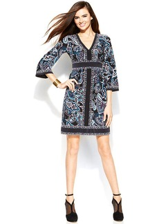 INc International Concepts Petite Printed Bell-Sleeve Empire-Waist Dress