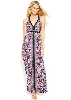 INC International Concepts Printed Cross-Back Maxi Dress