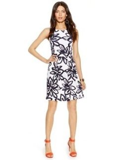 Inc International Concepts Printed Cutout-Back Scuba Flare Dress