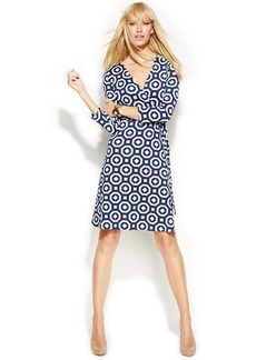 INC International Concepts Petite Printed Faux-Wrap Dress
