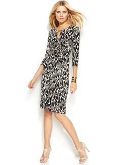 INC International Concepts Petite Printed Faux-Wrap Dress