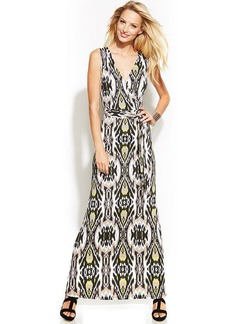 INC International Concepts Petite Printed Faux-Wrap Maxi Dress
