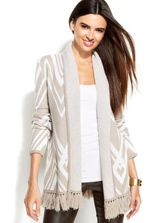 INC International Concepts Printed Fringed Open-Front Cardigan