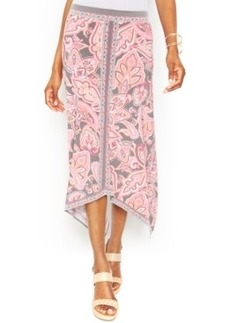 INC International Concepts Printed Handkerchief-Hem Maxi Skirt