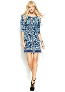 INC International Concepts Petite Printed Keyhole Sheath Dress