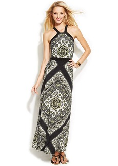 INC International Concepts Printed Maxi Halter Dress