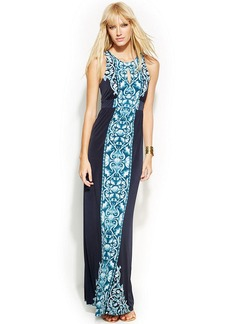 INC International Concepts Petite Printed Maxi Halter Dress