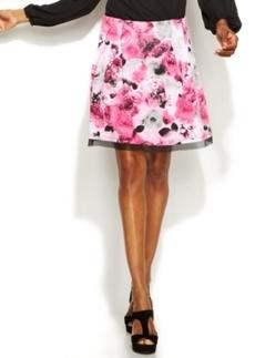INC International Concepts Printed Mesh-Trim A-Line Skirt