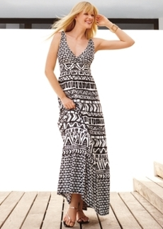 INC International Concepts Petite Printed Ruched-Back Maxi Dress