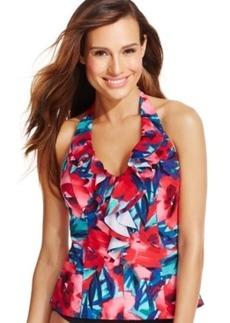 Inc International Concepts Printed Ruffled Tankini Top Women's Swimsuit