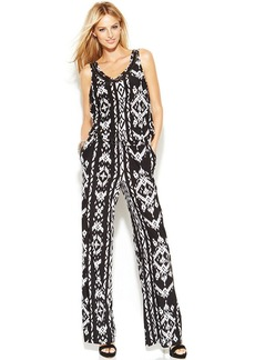 INC International Concepts Printed Sleeveless Embellished Jumpsuit