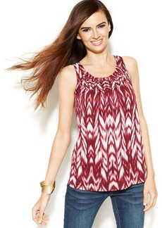INC International Concepts Printed Smock-Neck Sleeveless Top