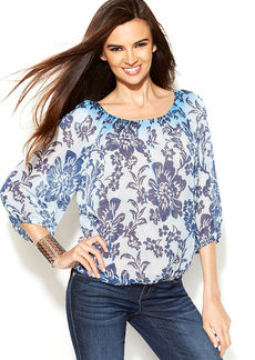 INC International Concepts Printed Three-Quarter-Sleeve Peasant Top