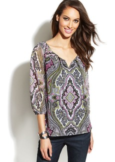 INC International Concepts Petite Printed Three-Quarter-Sleeve Peasant Top