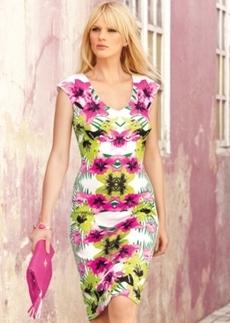 INC International Concepts Petite Printed V-Neck Bodycon Dress