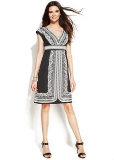 INC International Concepts Printed V-Neck Cap-Sleeve Dress