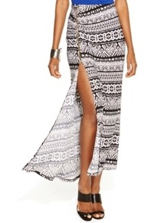 Inc International Concepts Printed Zipper-Trim Side-Slit Maxi Skirt