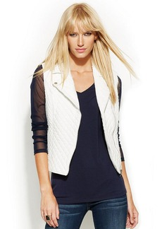 INC International Concepts Quilted Faux-Leather Moto Vest