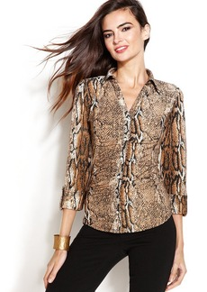 INC International Concepts Petite Three-Quarter-Sleeve Rhinestone-Button Ruched Shirt