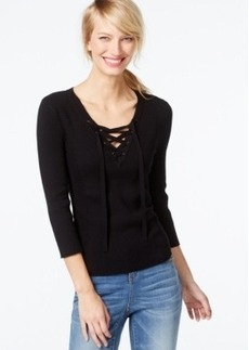Inc International Concepts Rib-Knit Lace-Up Sweater, Only at Macy's