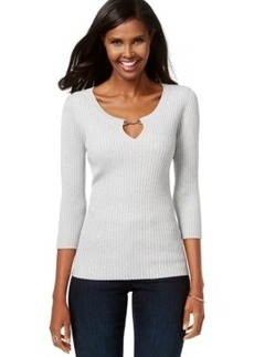 Inc International Concepts Petite Ribbed Keyhole Sweater, Only at Macy's
