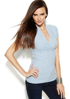 INC International Concepts Ribbed-Knit Surplice-Neck Cap-Sleeve Top