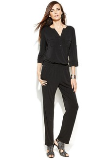 INC International Concepts Petite Roll-Tab-Sleeve Jumpsuit
