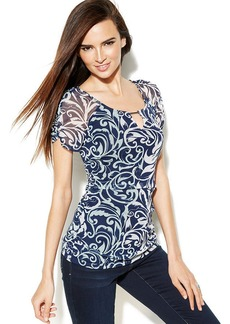 INC International Concepts Petite Ruched Printed Keyhole Top