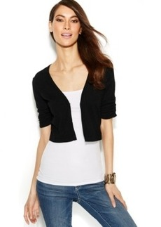 INC International Concepts Ruched-Sleeve Cropped Cardigan