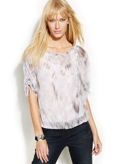INC International Concepts Ruched-Sleeve Printed Peasant Top