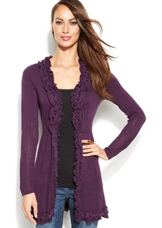 INC International Concepts Ruffle-Trim Open-Front Cardigan