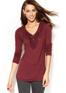 INC International Concepts Ruffled Long-Sleeve Top