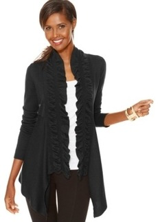 Inc International Concepts Ruffled Open-Front Cardigan
