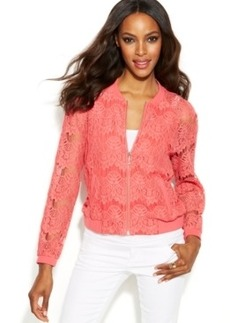 INC International Concepts Scalloped Lace Bomber Jacket