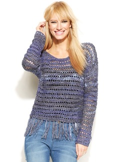 INC International Concepts Scoop-Neck Fringed Sweater