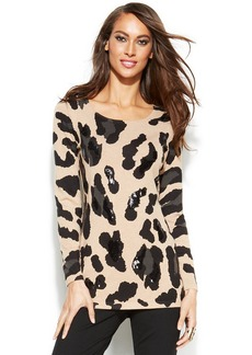 INC International Concepts Sequined Animal-Print Sweater