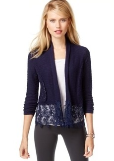 Inc International Concepts Shawl-Collar Lace-Trim Cardigan, Only at Macy's