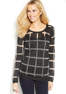 INC International Concepts Sheer-Stripe Sweater