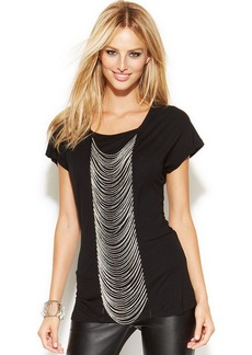 INC International Concepts Short-Sleeve Chain-Embellished Top