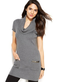 INC International Concepts Short-Sleeve Cowl-Neck Studded Tunic Sweater