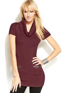 INC International Concepts Short-Sleeve Cowl-Neck Studded Tunic Sweater