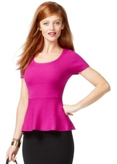 Inc International Concepts Short-Sleeve Peplum Sweater, Only at Macy's