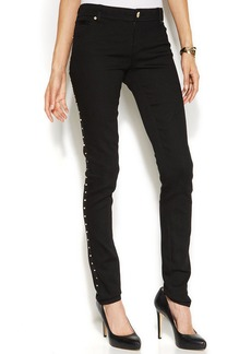 INC International Concepts Skinny Studded-Seam Jeans, Black Wash
