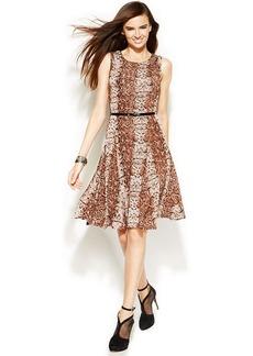 INC International Concepts Sleeveless Belted Animal-Print Dress