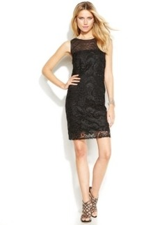 INC International Concepts Sleeveless Faux-Leather-Trim Lace Illusion Dress