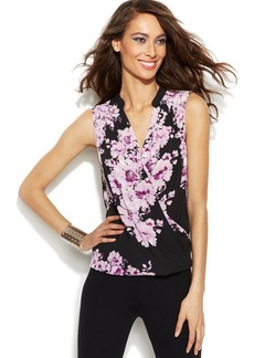 INC International Concepts Sleeveless Floral-Print Surplice Top