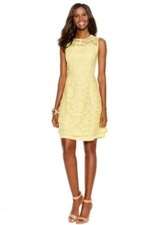 INC International Concepts Sleeveless Illusion Lace Flare Dress