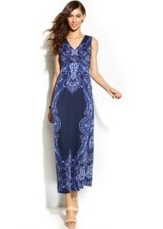 INC International Concepts Sleeveless Printed Ruched Maxi Dress
